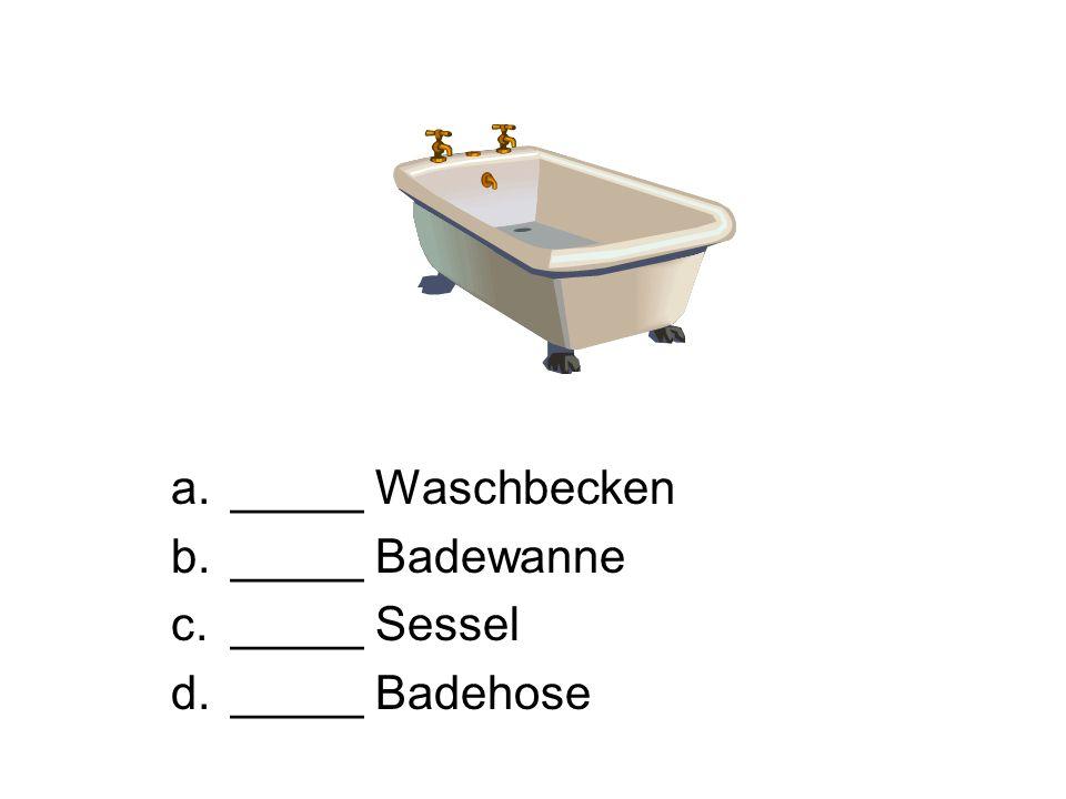 _____ Waschbecken _____ Badewanne _____ Sessel _____ Badehose