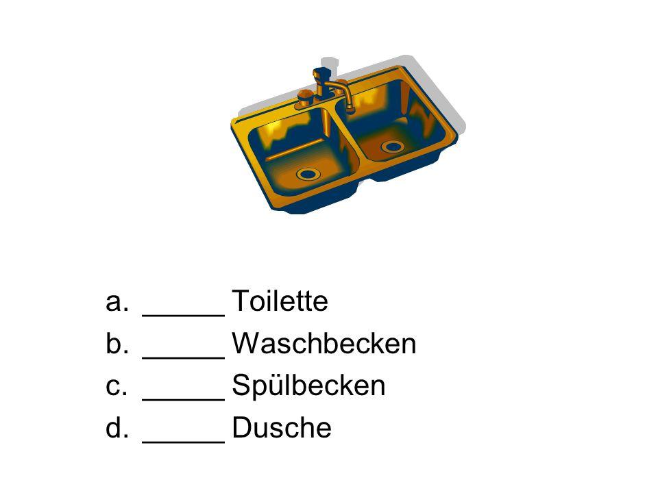 _____ Toilette _____ Waschbecken _____ Spülbecken _____ Dusche