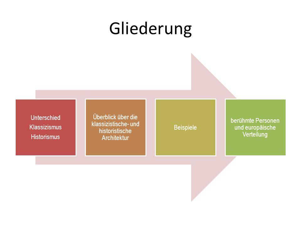 Gliederung Unterschied Klassizismus Historismus