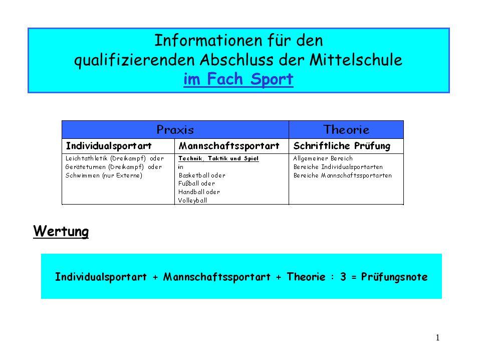 Informationen für den qualifizierenden Abschluss der Mittelschule im Fach Sport