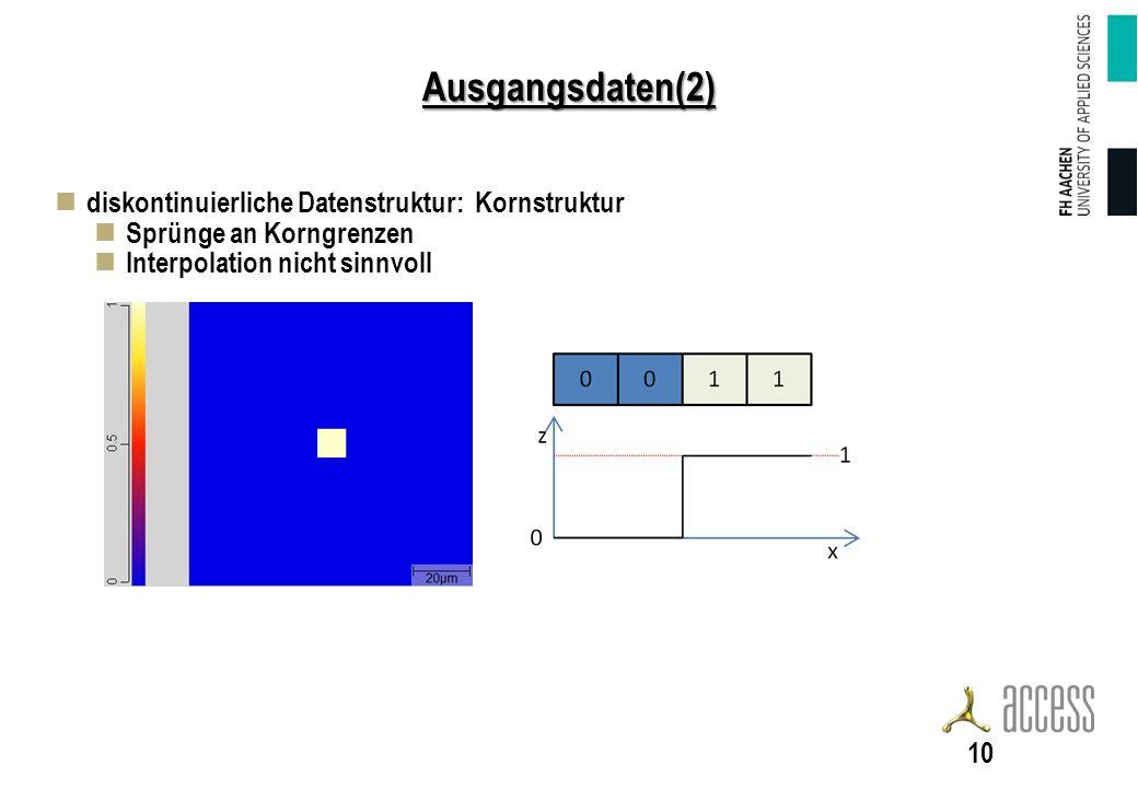 Ausgangsdaten(2) diskontinuierliche Datenstruktur: Kornstruktur