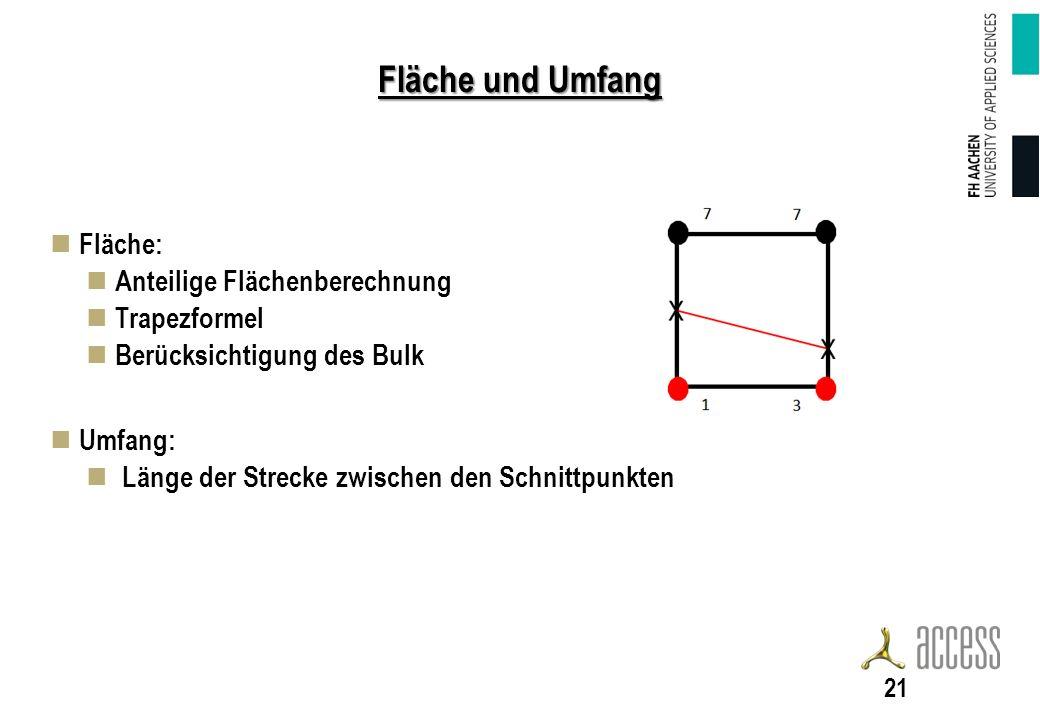 Fläche und Umfang Fläche: Anteilige Flächenberechnung Trapezformel