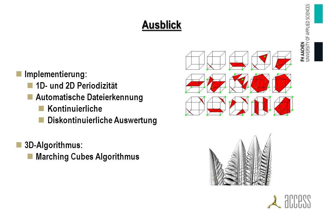 Ausblick Implementierung: 1D- und 2D Periodizität