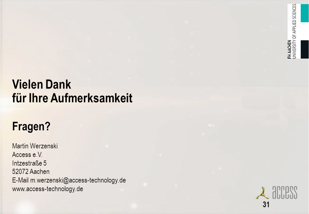 31 Fragen Martin Werzenski Access e.V. Intzestraße 5 52072 Aachen