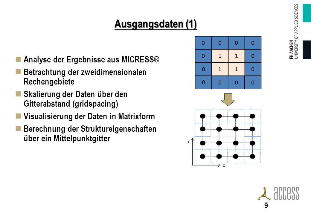 Ausgangsdaten (1) Analyse der Ergebnisse aus MICRESS®