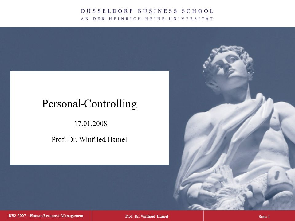 Personal-Controlling 17.01.2008 Prof. Dr. Winfried Hamel