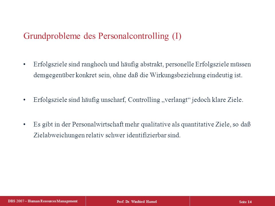 Grundprobleme des Personalcontrolling (I)