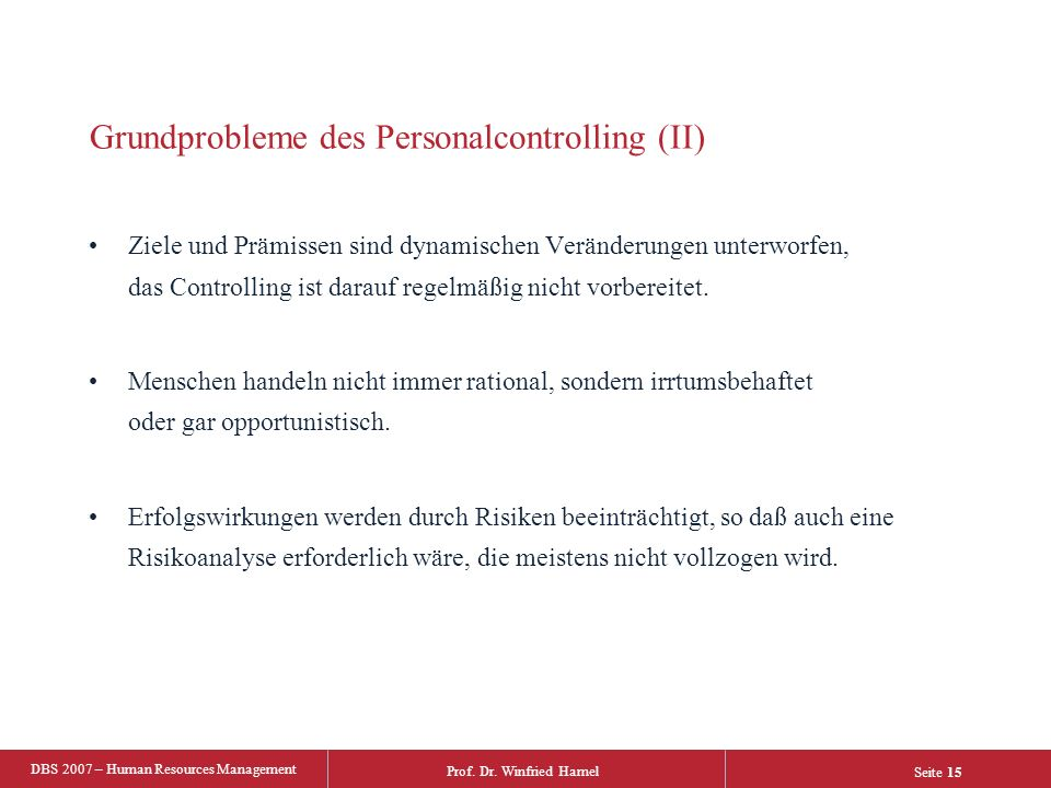 Grundprobleme des Personalcontrolling (II)