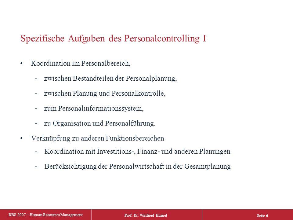 Spezifische Aufgaben des Personalcontrolling I