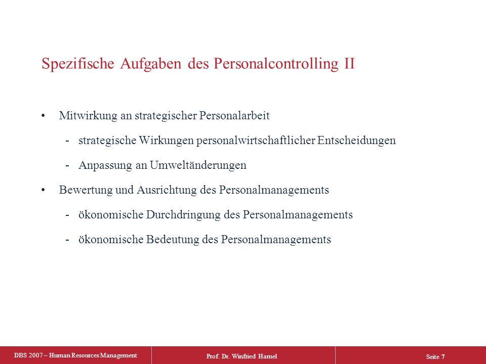 Spezifische Aufgaben des Personalcontrolling II