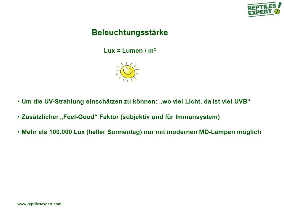 Beleuchtungsstärke Lux = Lumen / m²