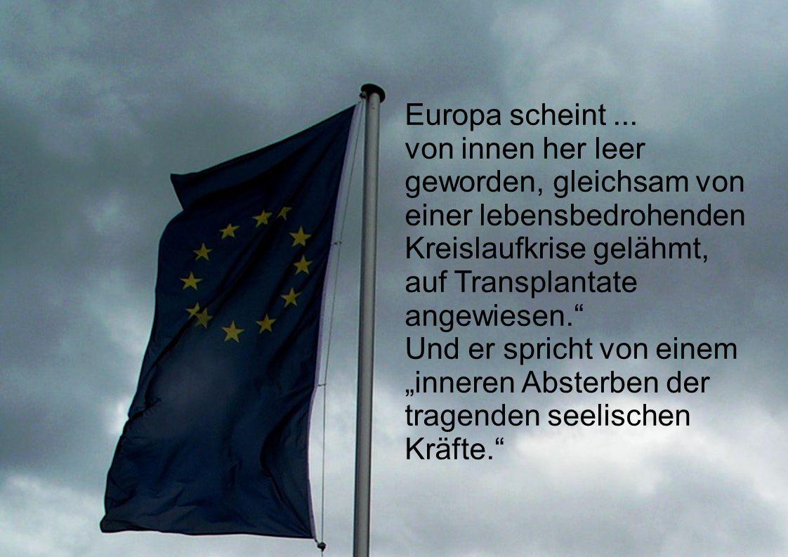Europa scheint ... von innen her leer geworden, gleichsam von einer lebensbedrohenden Kreislaufkrise gelähmt, auf Transplantate angewiesen.