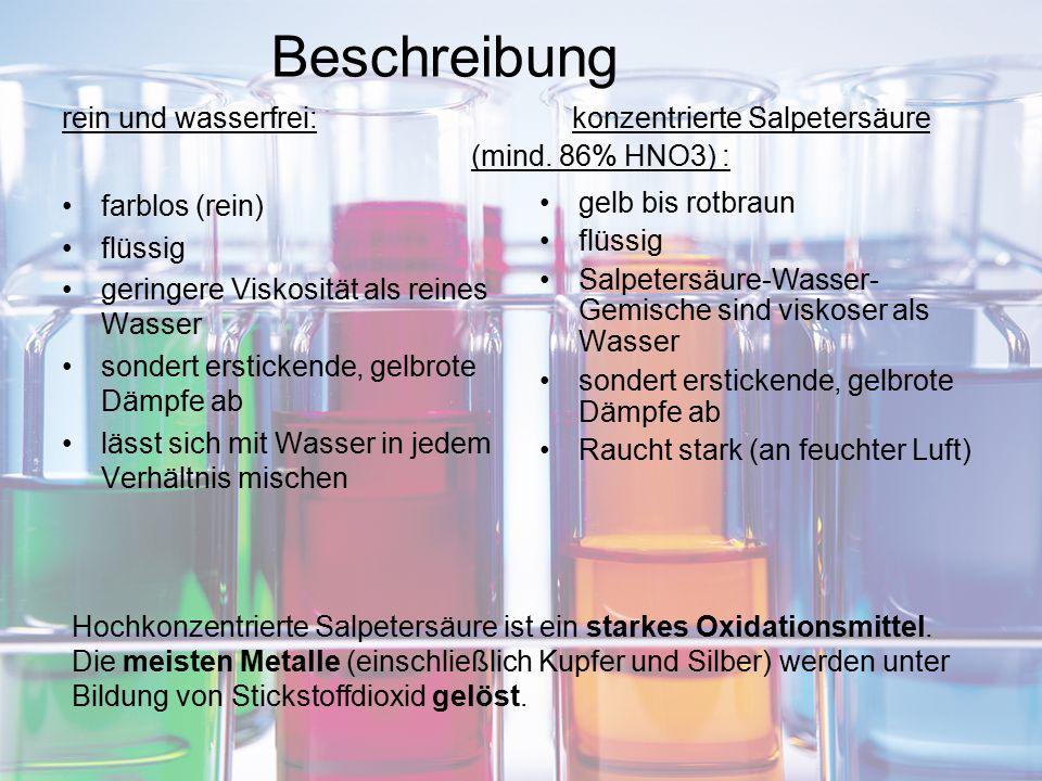 Beschreibung rein und wasserfrei: konzentrierte Salpetersäure. (mind