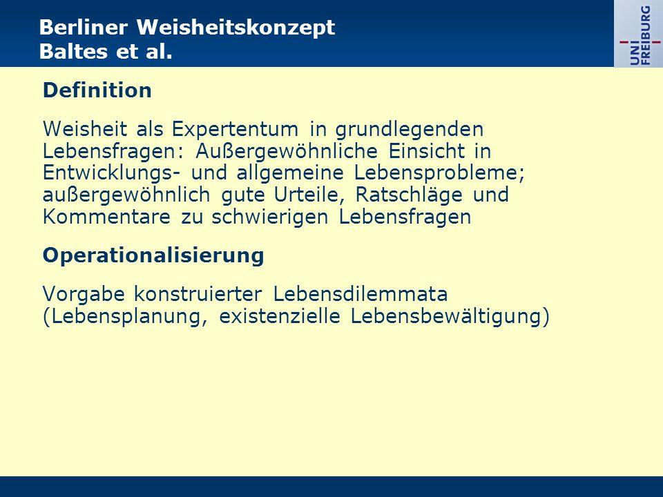 Berliner Weisheitskonzept Baltes et al.