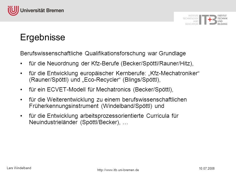Ergebnisse Berufswissenschaftliche Qualifikationsforschung war Grundlage. für die Neuordnung der Kfz-Berufe (Becker/Spöttl/Rauner/Hitz),