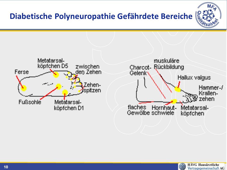 Diabetische Polyneuropathie Gefährdete Bereiche