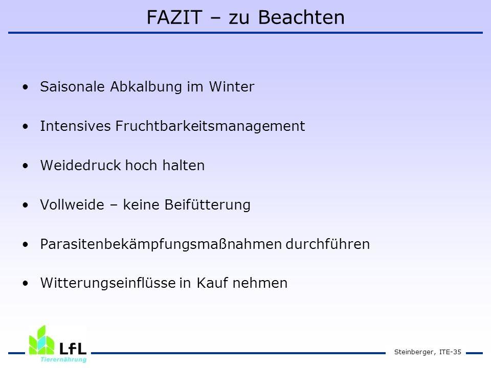 FAZIT – zu Beachten Saisonale Abkalbung im Winter