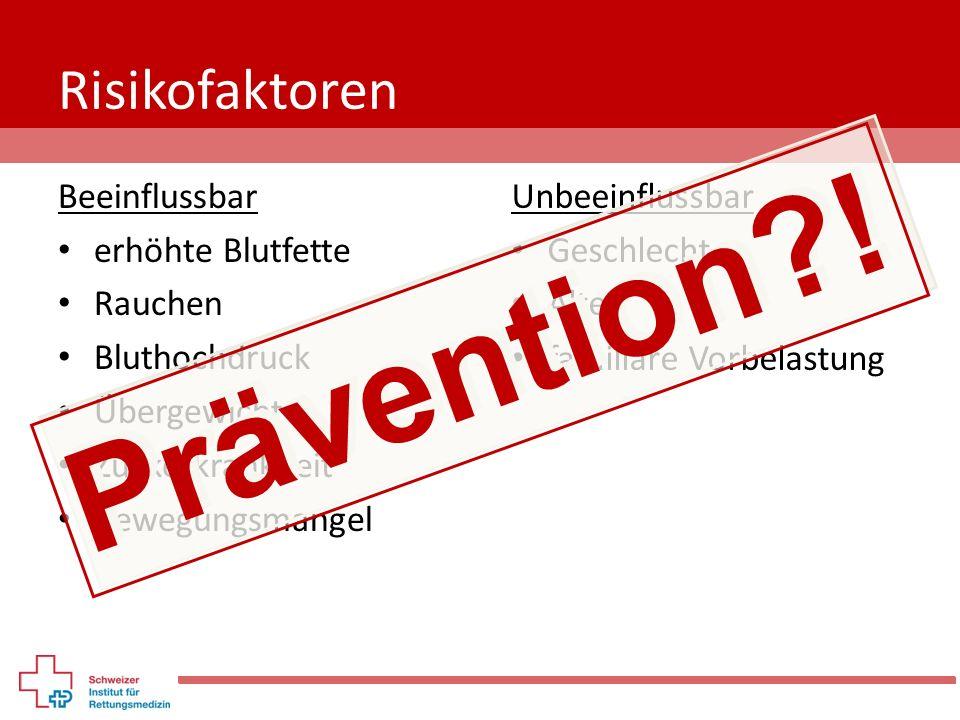 Prävention ! Risikofaktoren Beeinflussbar erhöhte Blutfette Rauchen