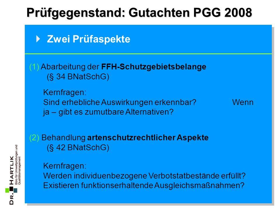 Prüfgegenstand: Gutachten PGG 2008