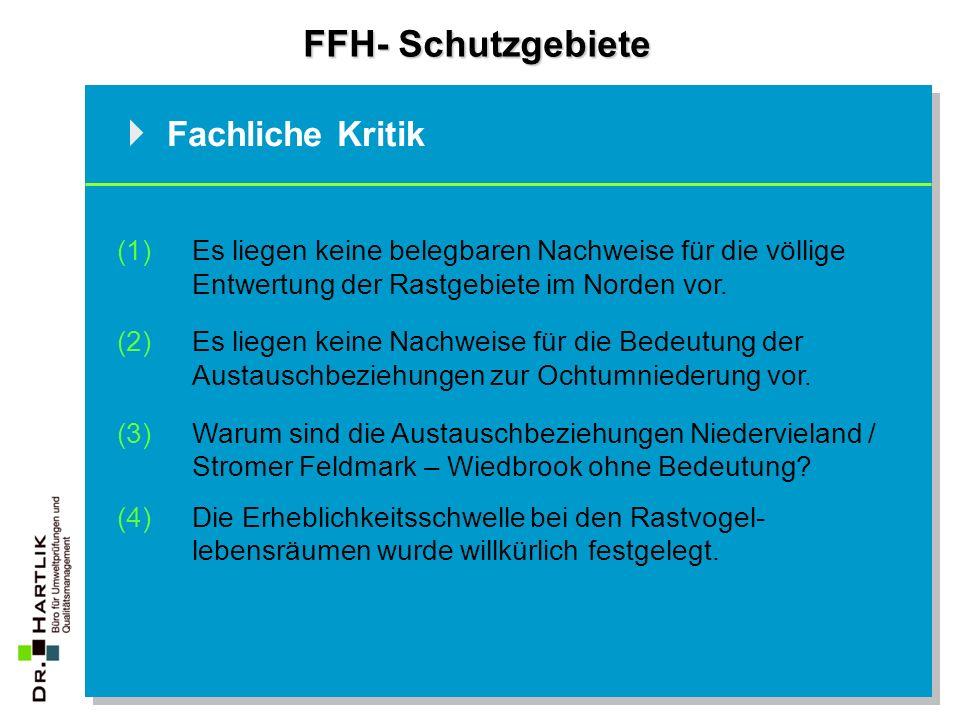 FFH- Schutzgebiete Fachliche Kritik