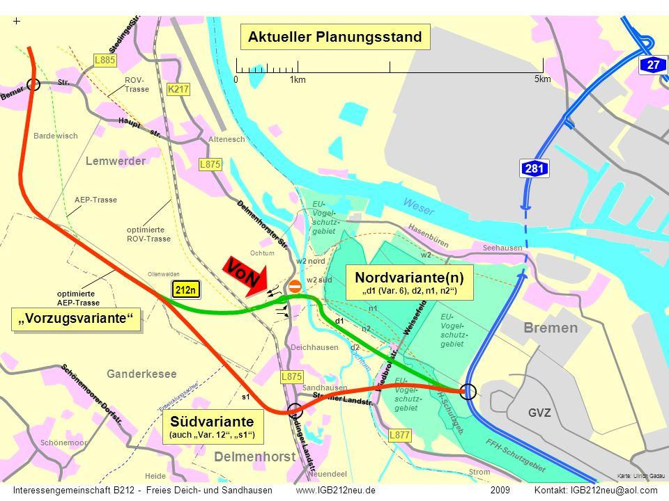 VoN Bremen Aktueller Planungsstand Straßennetz heute