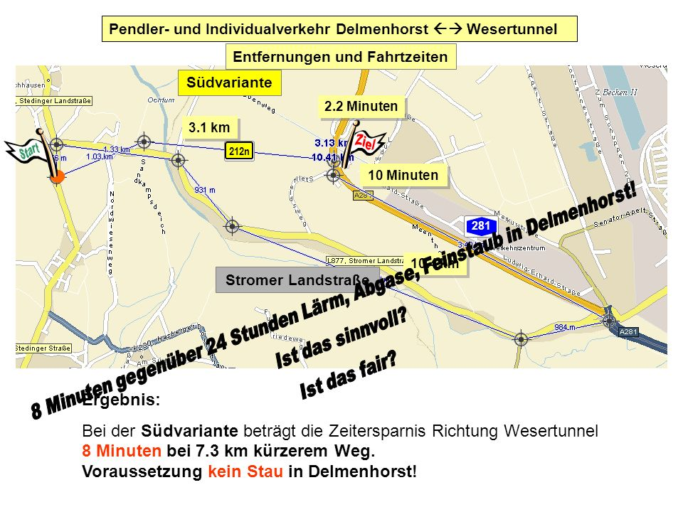 Pendler- und Individualverkehr Delmenhorst  Wesertunnel