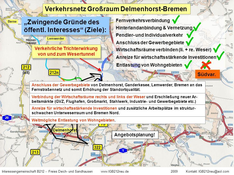 Verkehrliche Trichterwirkung von und zum Wesertunnel