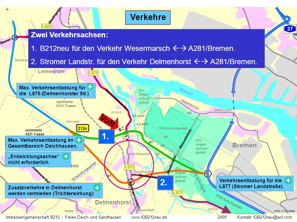 Verkehre VoN 1. 2. Zwei Verkehrsachsen: