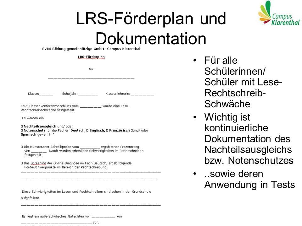 LRS-Förderplan und Dokumentation