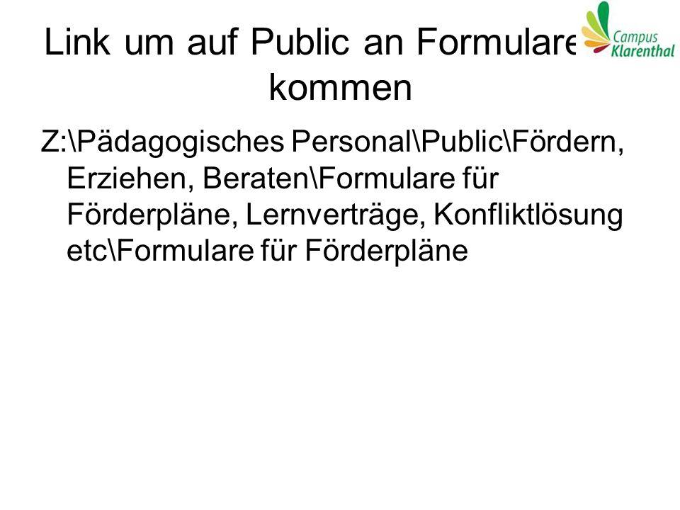 Link um auf Public an Formulare zu kommen