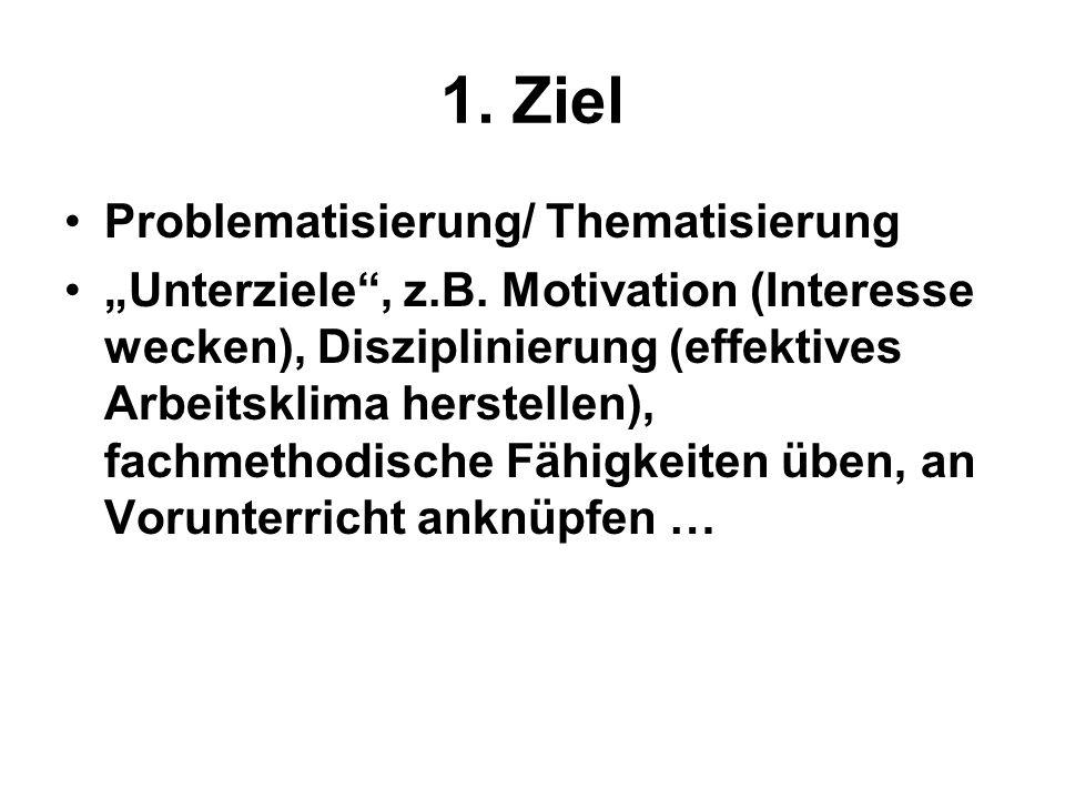 1. Ziel Problematisierung/ Thematisierung