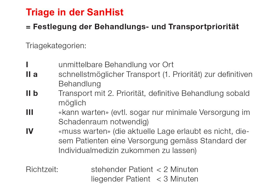 Triage in der SanHist
