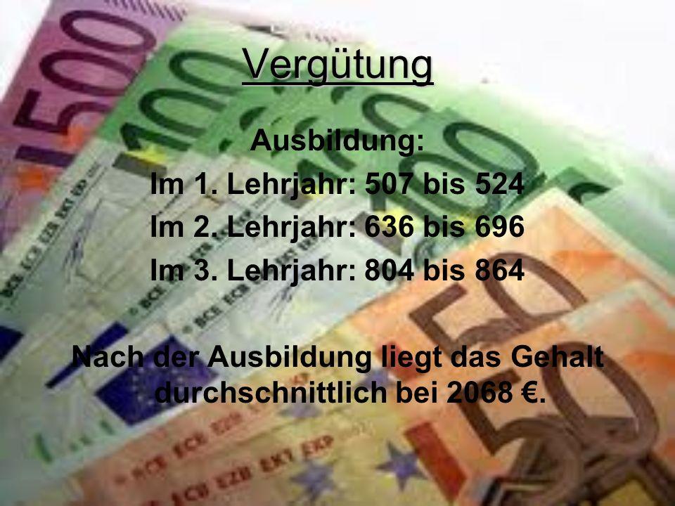 Nach der Ausbildung liegt das Gehalt durchschnittlich bei 2068 €.