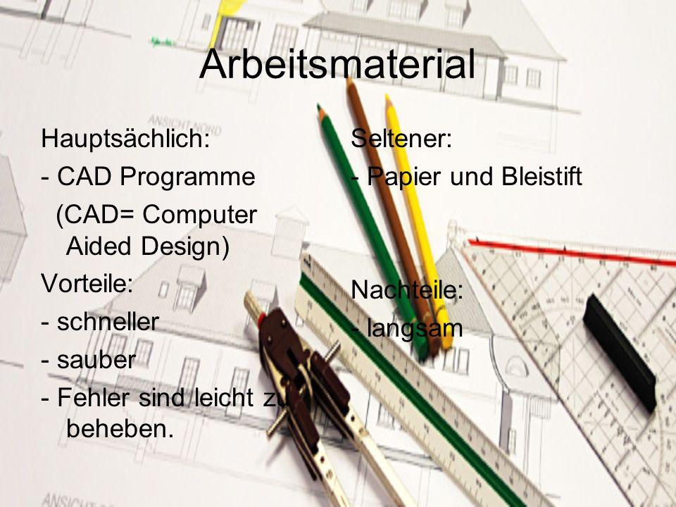 Arbeitsmaterial Hauptsächlich: - CAD Programme