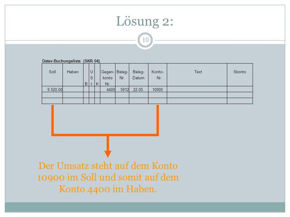 Lösung 2: Datev-Buchungsliste (SKR 04) Soll. Haben. U. Gegen- Beleg- Konto- Text. Skonto.
