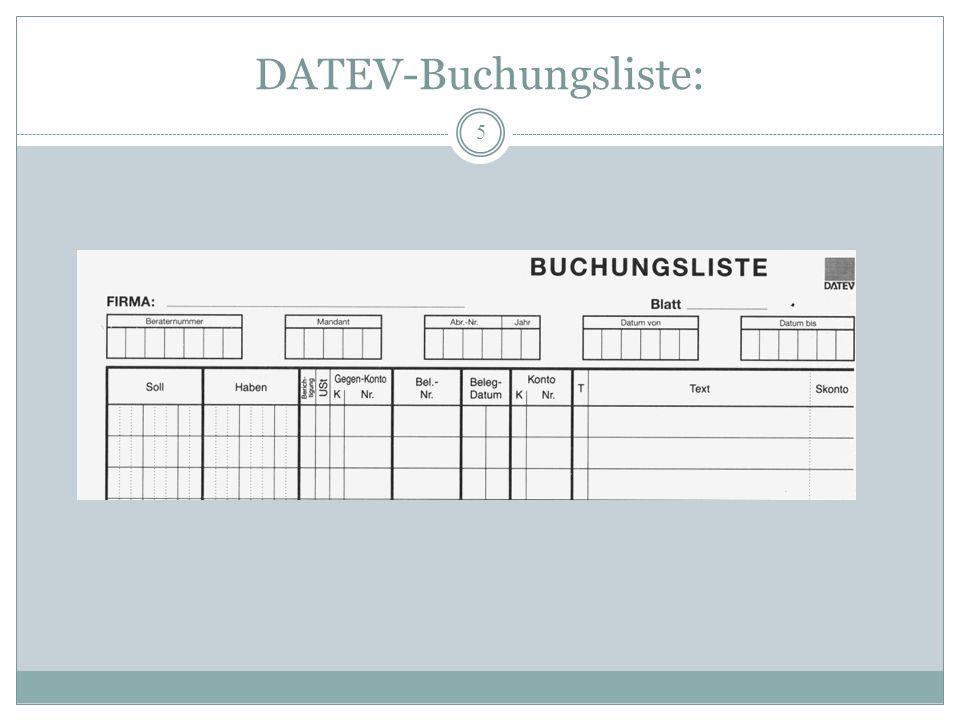 DATEV-Buchungsliste: