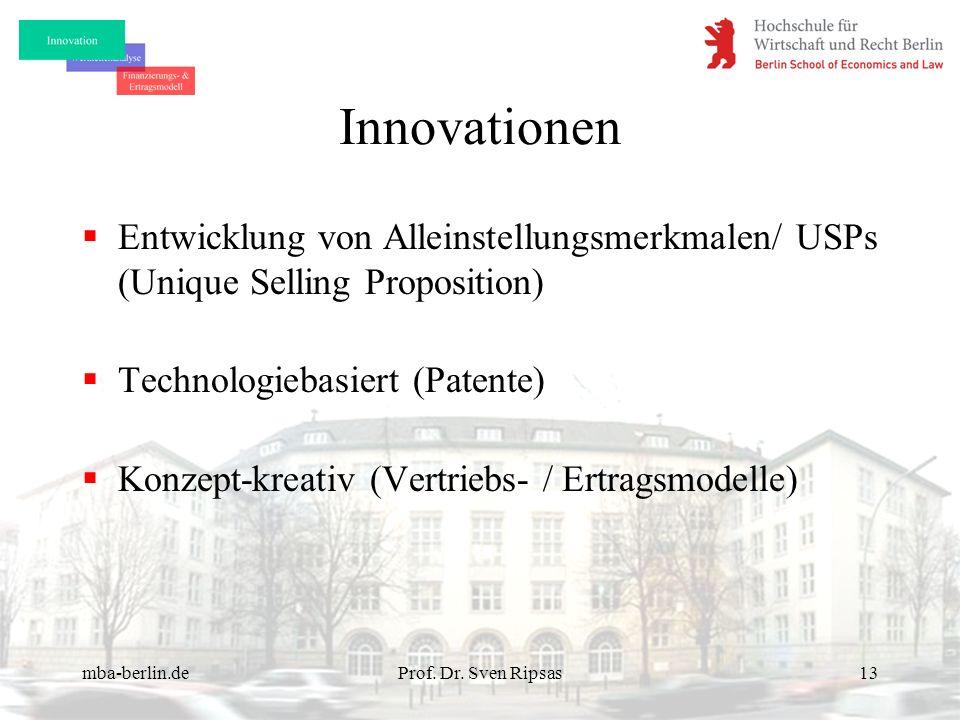 Innovationen Entwicklung von Alleinstellungsmerkmalen/ USPs (Unique Selling Proposition) Technologiebasiert (Patente)