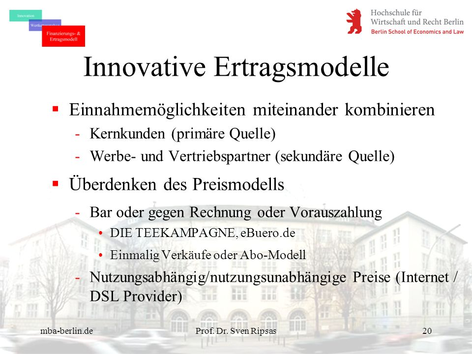 Innovative Ertragsmodelle