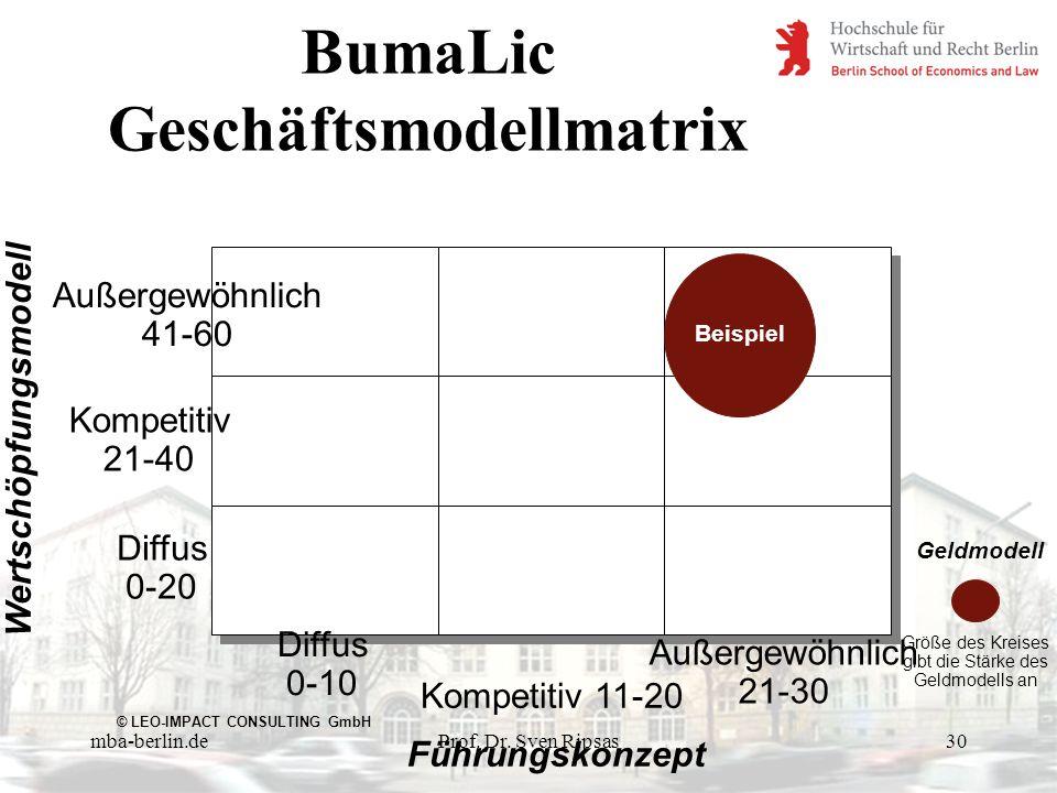 BumaLic Geschäftsmodellmatrix