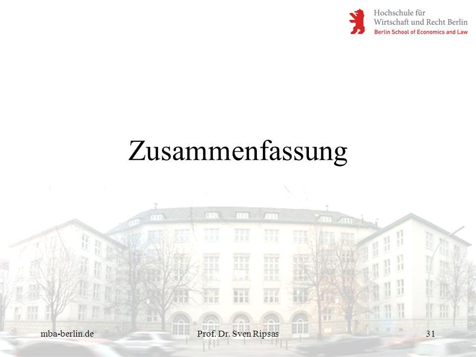 Zusammenfassung mba-berlin.de Prof. Dr. Sven Ripsas