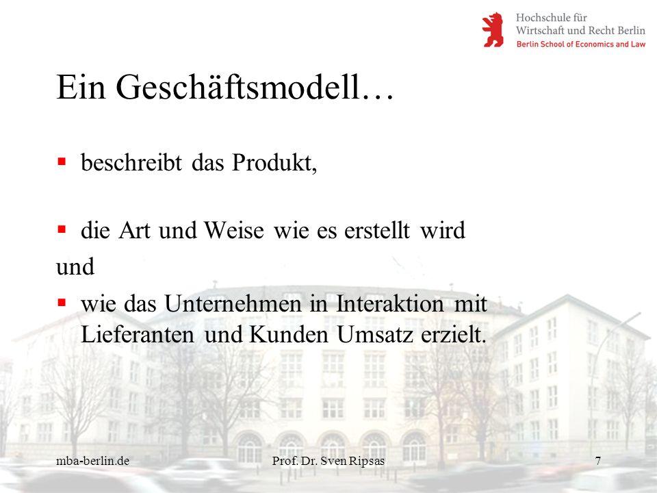 Ein Geschäftsmodell… beschreibt das Produkt,