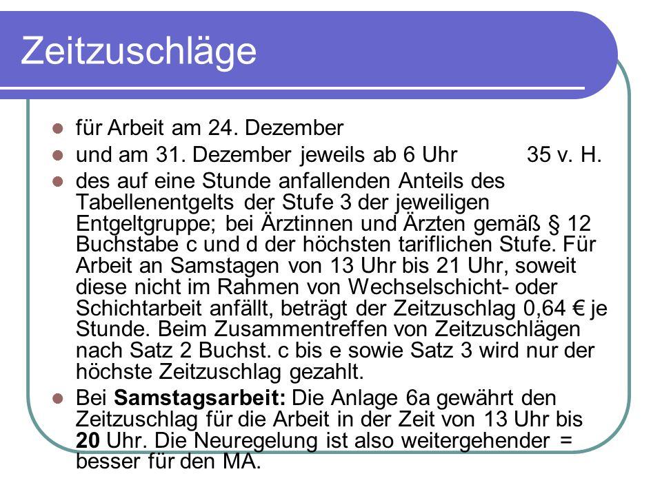 Zeitzuschläge für Arbeit am 24. Dezember