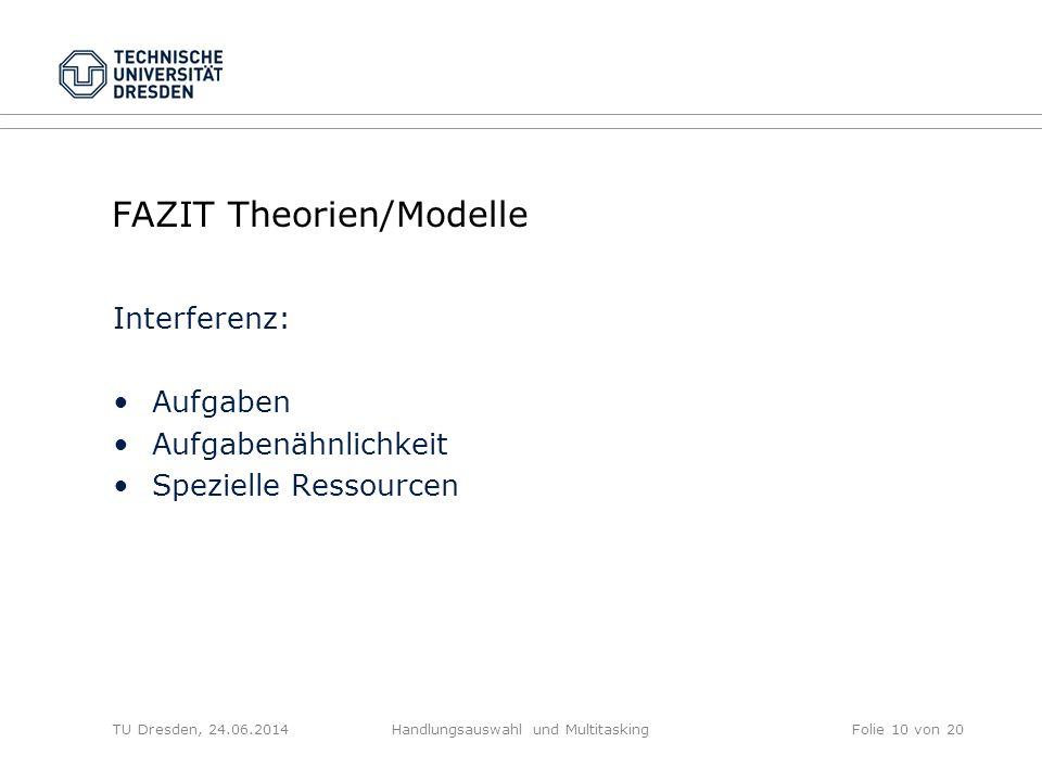 FAZIT Theorien/Modelle