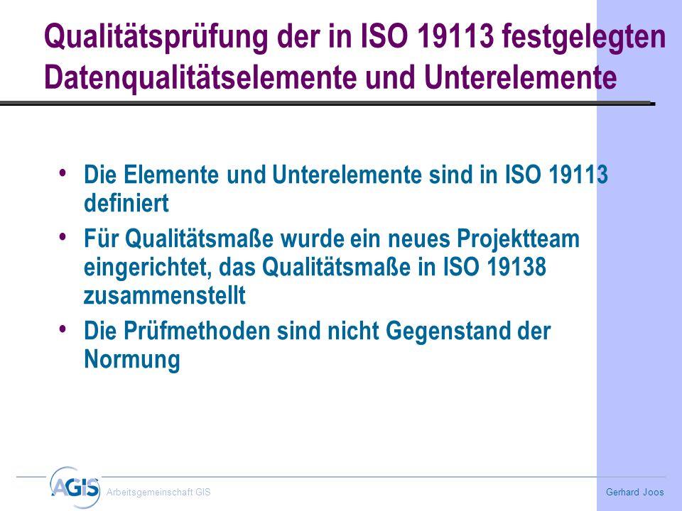 Qualitätsprüfung der in ISO 19113 festgelegten Datenqualitätselemente und Unterelemente