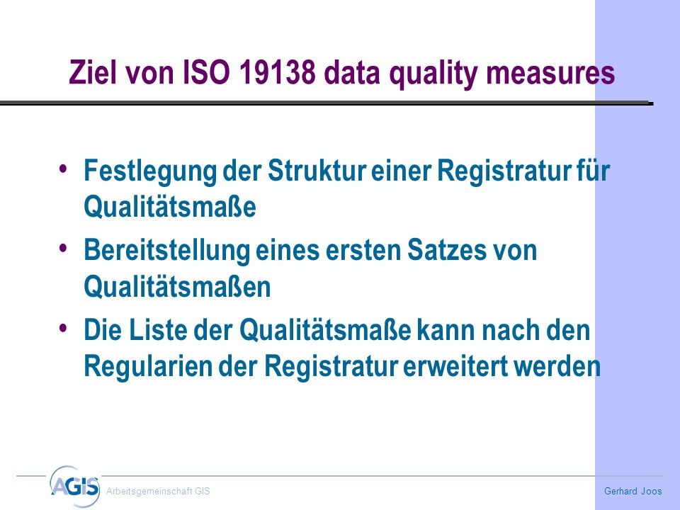Ziel von ISO 19138 data quality measures