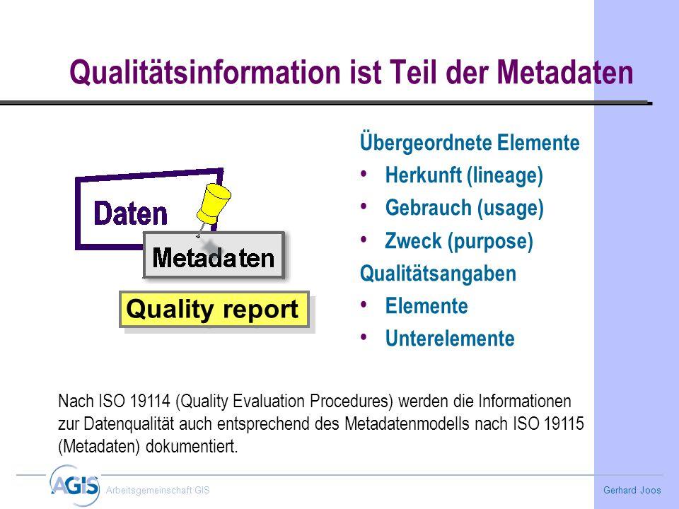 Qualitätsinformation ist Teil der Metadaten