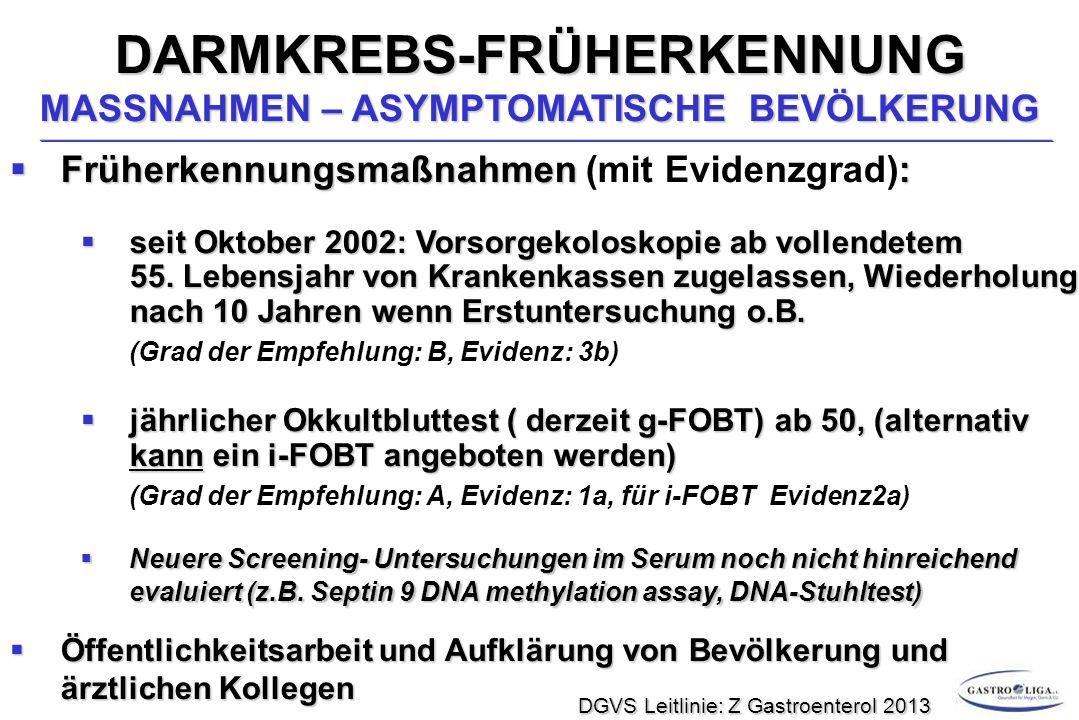 DARMKREBS-FRÜHERKENNUNG MASSNAHMEN – ASYMPTOMATISCHE BEVÖLKERUNG