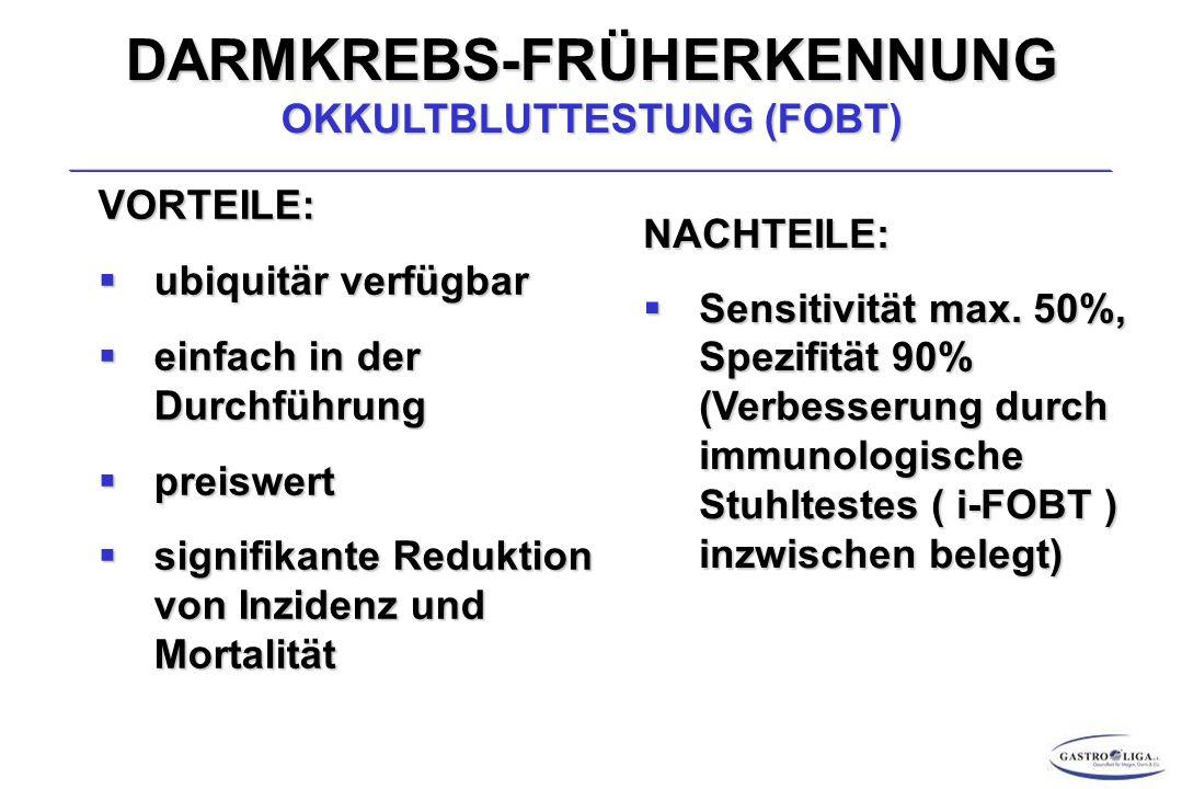 DARMKREBS-FRÜHERKENNUNG OKKULTBLUTTESTUNG (FOBT)