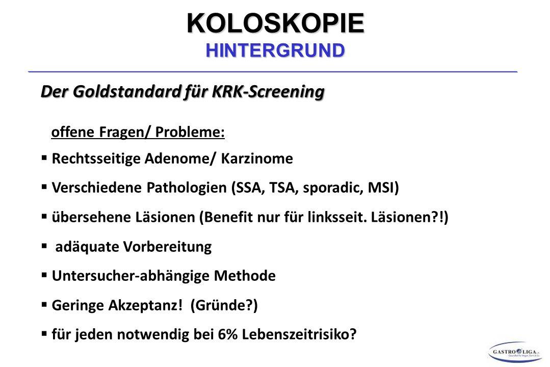 KOLOSKOPIE HINTERGRUND Der Goldstandard für KRK-Screening