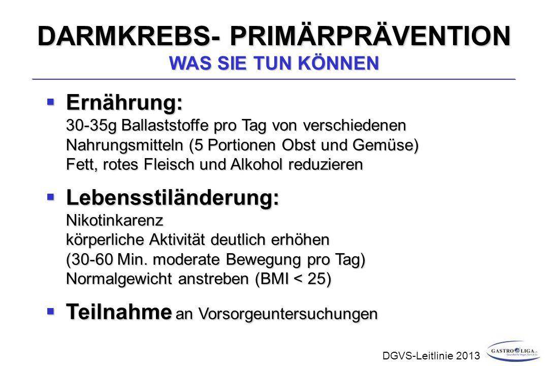DARMKREBS- PRIMÄRPRÄVENTION WAS SIE TUN KÖNNEN